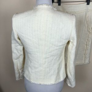 Magaschoni Skirts - Magaschoni Collection ivory tweed suit set size 2